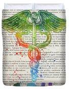 Intensive Care Unit Gift Idea With Caduceus Illustration 03 Duvet Cover