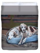 Irish Red And White Setters - Archer Dogs Duvet Cover