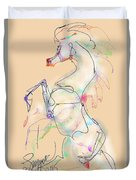 Ivory Horse Rising Duvet Cover by Stacey Mayer