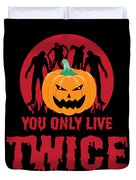 Jackolantern Scary Ghost Zombie Pumpkin Halloween Dark Duvet Cover