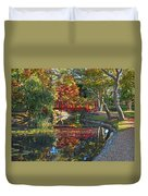 Japanese Garden Red Bridge Reflection Duvet Cover