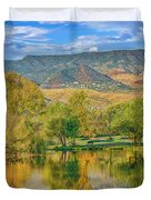 Jerome Reflected In Deadhorse Ranch Pond Duvet Cover