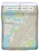 Jersey City New Jersey Us City Street Map Duvet Cover