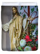 Jesus Christ With Flowers Duvet Cover