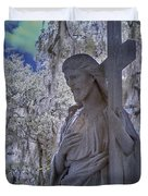 Jesus Graveyard Statue Duvet Cover