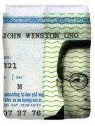John Lennon Immigration Green Card 1976 Duvet Cover