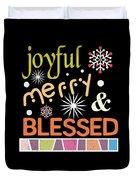 Joyful Merry Blessed Christmas Snowflakes Duvet Cover