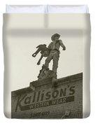 Kallison Cowboy Still Stands In San Antonio Duvet Cover