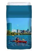 Kayaking On The Charles Duvet Cover