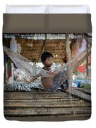 Keeping Cool In Cambodia Duvet Cover