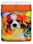 King Charles Spaniel On The Move Duvet Cover