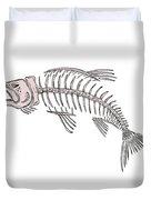 King Salmon Skeleton Drawing Duvet Cover