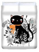 Kitty Kitty Sitting Pretty With Flowers All Around Duvet Cover