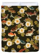 Koi And Lily Pads In Dark Water Duvet Cover