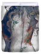 Koi No Yokan - Blue Rust - Erotic Drawing, Sexy Tattoo Girl In Thong Biting An Apple Duvet Cover