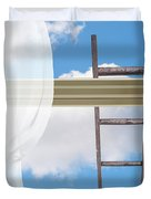 Ladder Against Window Pane Duvet Cover