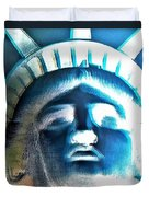 Lady Liberty In Negative Duvet Cover