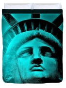 Lady Liberty In Turquoise Duvet Cover