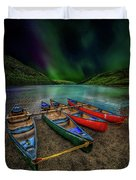 lake Geirionydd Canoes Duvet Cover by Adrian Evans