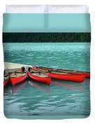 Lake Louise Canoes Duvet Cover