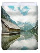 Lake Obersee Boat House Duvet Cover