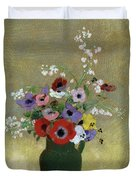 Large Green Vase With Mixed Flowers, 1912 Duvet Cover