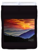 Laurens Sunset And Mountains Duvet Cover