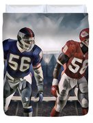 Lawrence Taylor New York Giants And Derrick Thomas Kansas City Chiefs Abstract Art 1 Duvet Cover
