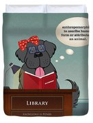Library Newfie Duvet Cover