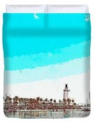 lighthouse 9, watercolor by Adam Asar Duvet Cover