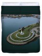 Lighthouse On The Coast, Long Beach Duvet Cover