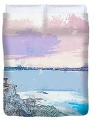 Lighthouse, Sydney, Australia -  Watercolor By Ahmet Asar Duvet Cover