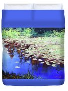 Lilies On Blue Water Duvet Cover
