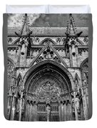 Lincoln Cathedral Side Entrance Monochrome Duvet Cover by Scott Lyons