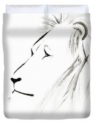 Lion Face With A Deep Wise Gaze Japanese Sumi-e Illustration Duvet Cover