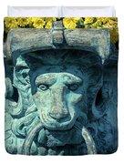 Lions Head On Flower Planter Duvet Cover