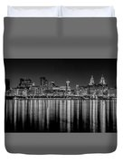 Liverpool Skyline In The Night Black And White Duvet Cover