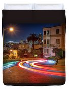 Lombard Street And The Bay Bridge Duvet Cover