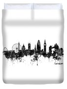 London Black And White Watercolor Skyline Silhouette Duvet Cover