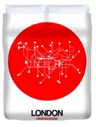 London Red Subway Map Duvet Cover