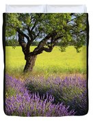 Lone Tree In Lavender And Mustard Fields Duvet Cover by Brian Jannsen