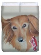 Long Haired, Miniature Dachshund Duvet Cover