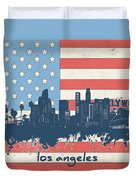 Los Angeles Skyline Flag Duvet Cover