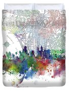 Los Angeles Skyline Map Watercolor 3 Duvet Cover