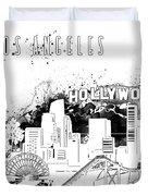 Los Angeles Skyline Panorama White Duvet Cover