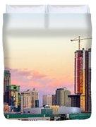 Los Angeles Skyline Sunset - Panorama Duvet Cover