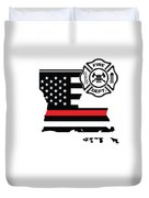Louisiana Firefighter Shield Thin Red Line Flag Duvet Cover