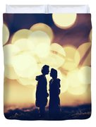 Loving Couple Standing In A Cozy Winter Scenery. Duvet Cover