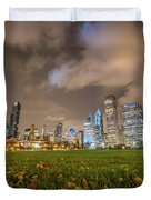 Low Angle Picture Of Downtown Chicago Skyline During Winter Nigh Duvet Cover
