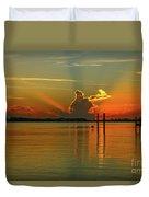 Low Flying Pelican Sunrise Duvet Cover